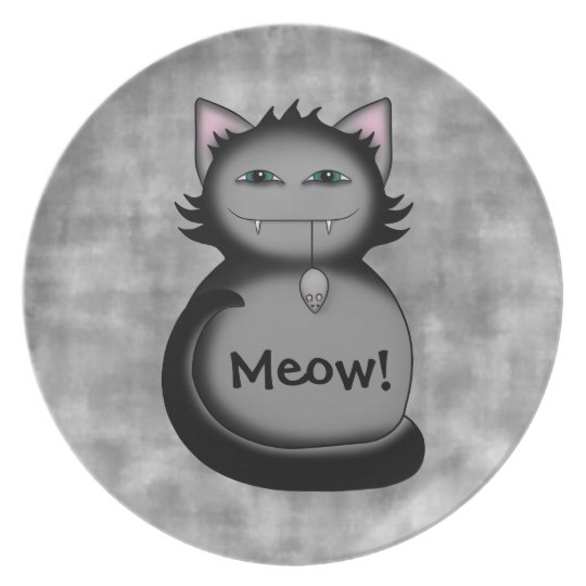 Sneaky gray cat dinner plate
