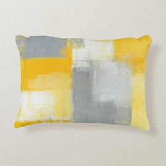 'Sneaky' Grey and Yellow Abstract Art Accent Pillow