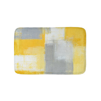 'Sneaky' Grey and Yellow Abstract Art Bath Mat