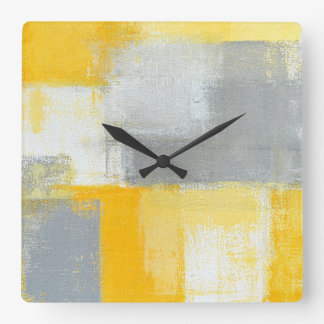 'Sneaky' Grey and Yellow Abstract Art Clock