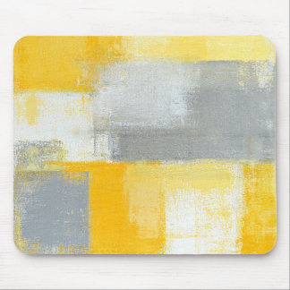 'Sneaky' Grey and Yellow Abstract Art Mouse Pad