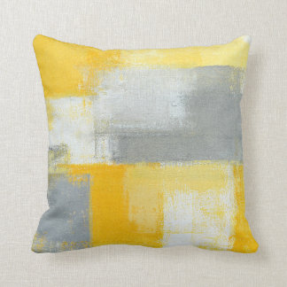'Sneaky' Grey and Yellow Abstract Art Pillow