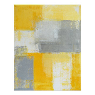 'Sneaky' Grey and Yellow Abstract Art Poster Print