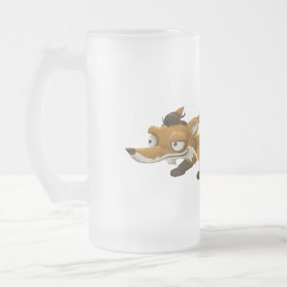 Sneaky Little Orange Fox Frosted Glass Beer Mug