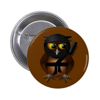 Sneaky Ninja Owl 2 Inch Round Button