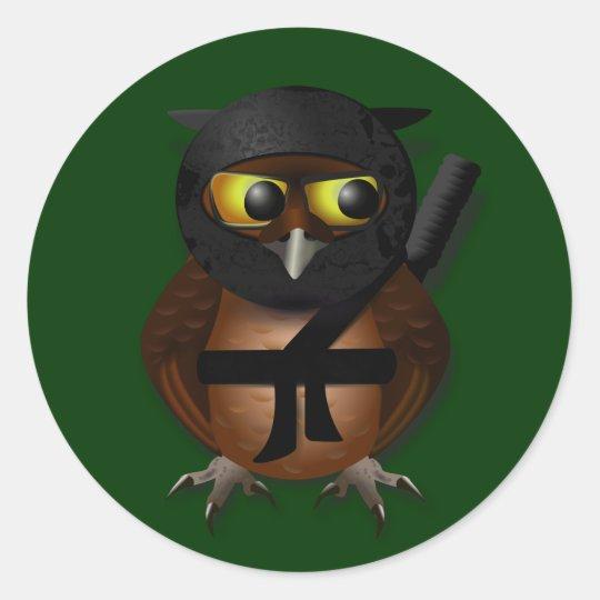 Sneaky Ninja Owl Classic Round Sticker