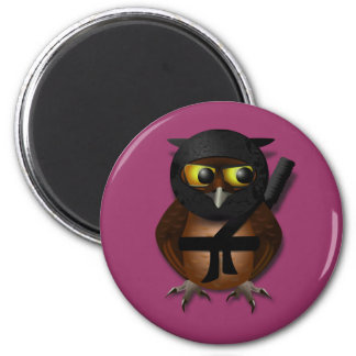 Sneaky Ninja Owl 2 Inch Round Magnet