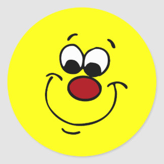 Sneaky Smiley Face Grumpey Classic Round Sticker