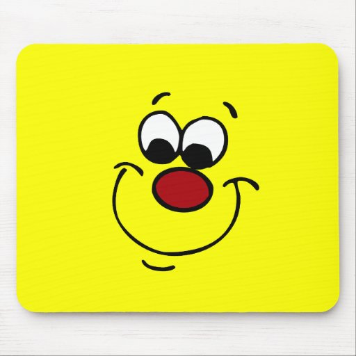 Sneaky Smiley Face Grumpey Mouse Pads