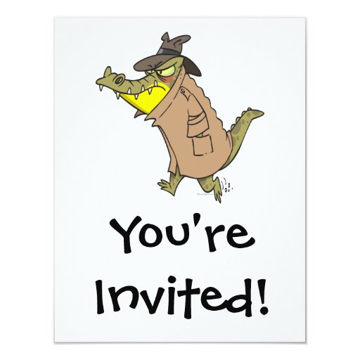 "sneaky thug croc crocodile cartoon character 4.25"" x 5.5"" invitation card"