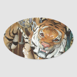 Sneaky Tiger Oval Sticker