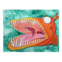 """Sneezer"" Fish With Attitude Postcard"