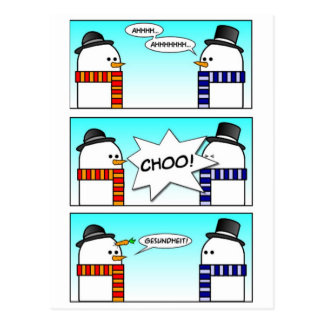 Sneezing Snowman Postcards
