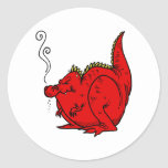 Sneezy el dragón etiquetas redondas