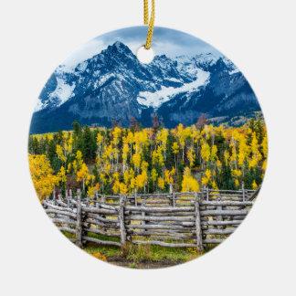 Sneffels Mountain Corral in the Fall - Colorado Ceramic Ornament