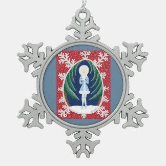 Snegurochka (serie de la moda del cuento de hadas adorno de peltre en forma de copo de nieve