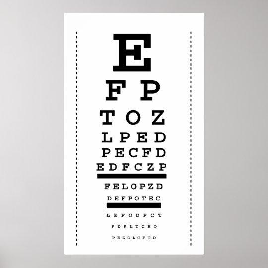 Snellen Eye Chart Zazzle