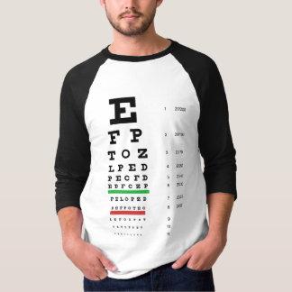 Snellen Eye Chart 3/4 Sleeve Raglan T-Shirt