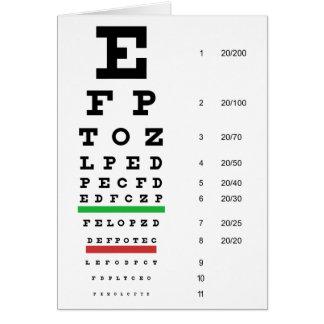 Snellen Eye Chart Card