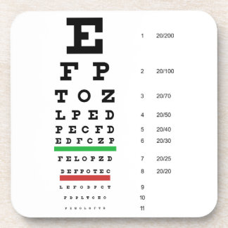 Snellen Eye Chart Cork Coaster