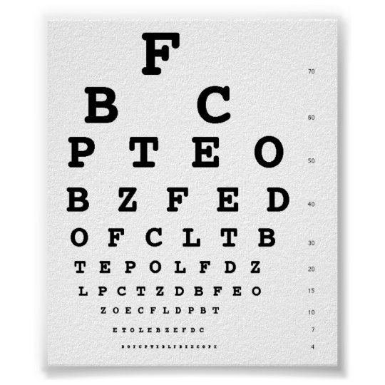 Snellen Eye Test Chart Zazzle