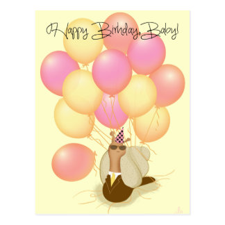 """Sneople """"Birthday Balloons"""" with Mr. Cool Snail#2 Postcard"""