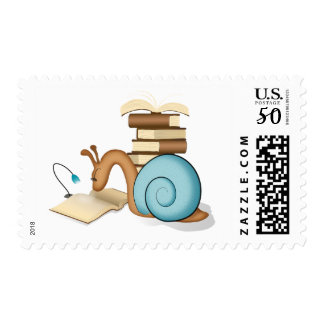 """Sneople"" Book Worm Snail Postage Stamp"