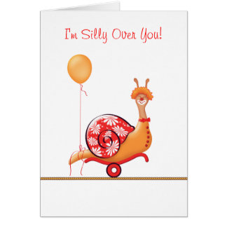 """""""Sneople"""" Silly Over You Snail Clown Card"""