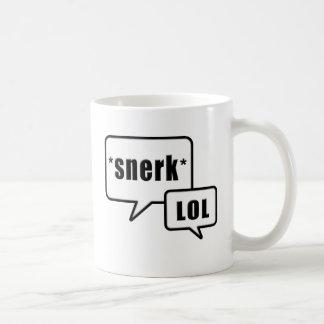 Snerk LOL black and white design mug