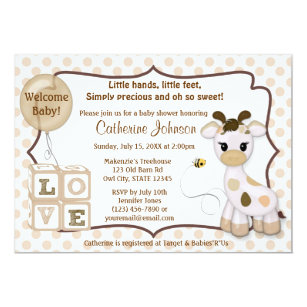 Giraffe baby shower invitations announcements zazzle snickerdoodle giraffe baby shower invitations filmwisefo