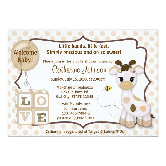Snickerdoodle Giraffe Baby Shower Invitations Zazzlecom
