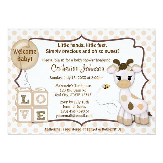 Snickerdoodle Giraffe Baby Shower Invitations