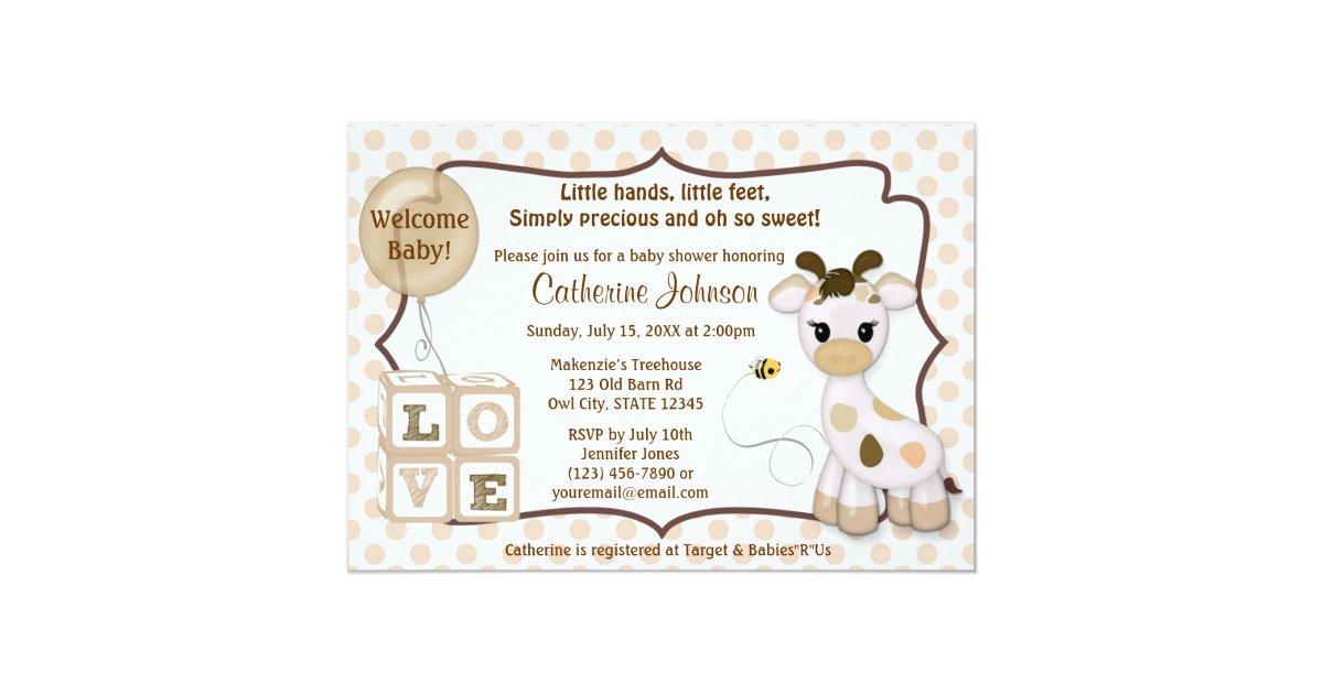 Snickerdoodle Giraffe Baby Shower Invitations | Zazzle.com
