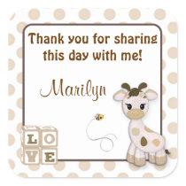 Snickerdoodle Giraffe square stickers
