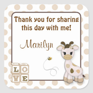 Snickerdoodle Giraffe square stickers