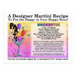 Snickertini Candy Martini Recipe Card Postcard
