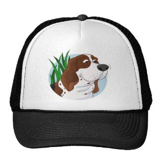 Sniffing Basset Hound Cartoon Trucker Hat