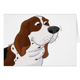 Sniffing Cartoon Basset Hound Card