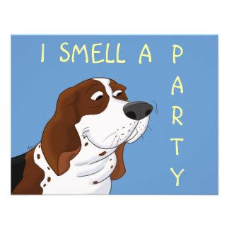 Sniffing Cartoon Basset Hound Custom Announcement