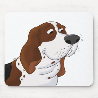 Sniffing Cartoon Basset Hound Mouse Pad
