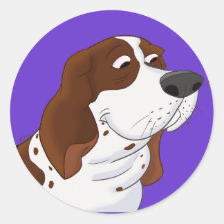Sniffing Cartoon Basset Hound Classic Round Sticker