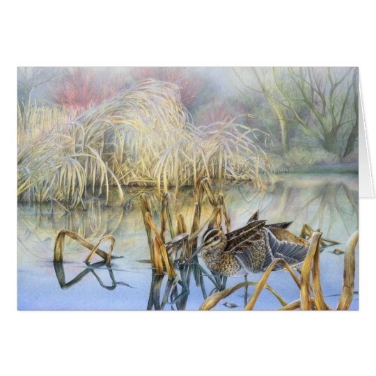 Snipe on a cold and frosty morning fine art card