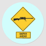 Sniper Ahead Warning Sign Classic Round Sticker