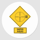Sniper Ahead Warning Sign (Crosshairs) Classic Round Sticker