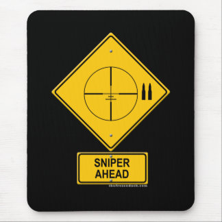 Sniper Ahead Warning Sign (Crosshairs) Mouse Pad