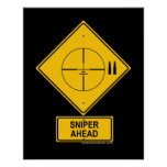 Sniper Ahead Warning Sign (Crosshairs) Poster