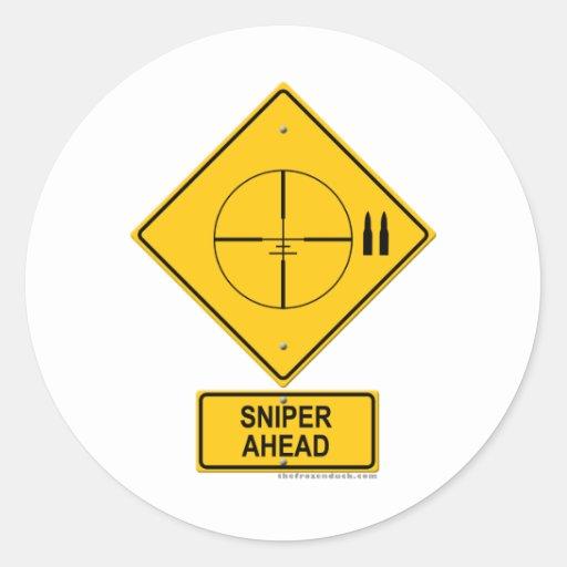 Sniper Ahead Warning Sign (Crosshairs) Round Sticker