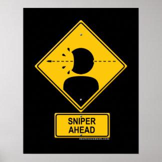 Sniper Ahead Warning Sign (Head Shot)