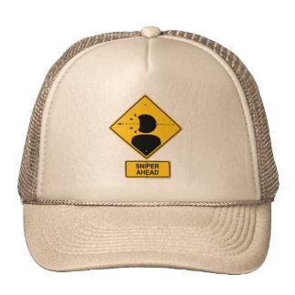 Sniper Ahead Warning Sign (Head Shot) Trucker Hat