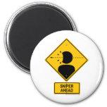 Sniper Ahead Warning Sign (Head Shot) Refrigerator Magnet